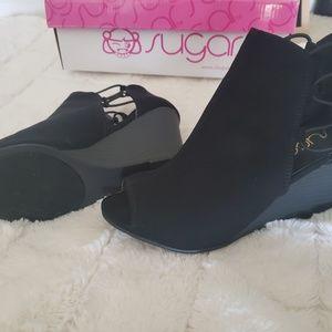 Black Wedged Peep Toe Booties
